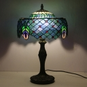 Baroque Drum Nightstand Light 1-Light Blue Stained Glass Peacock Tail Patterned Table Lamp