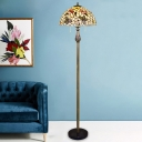 White Bowl Shade Standing Lamp Tiffany 2 Heads Shell Pull Chain Floor Reading Light with Floral and Butterfly Pattern