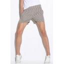 Fashionable Mens Vertical Striped Printed Drawstring Waist Pocket Mid Rise Straight Fit Shorts
