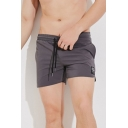 Cool Mens Fast Dry Drawstring Waist Split Hem Pocket Mid Rise Straight Fit Shorts