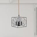 Rectangle Frame Metal Pendant Lamp Warehouse 4-Light Dining Room Hanging Chandelier in Black