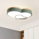 Nordic Loving Heart Acrylic Flush Mount LED Close to Ceiling Lighting in White/Green/Grey-Wood for Child Room
