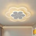 Modernist LED Flush Ceiling Light White Extra Thin 2 Layers Flower Flush Mount with Acrylic Shade