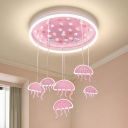Pink Draped Jellyfish LED Ceiling Lamp Kids Style Acrylic Flush Mount Lighting for Nursery