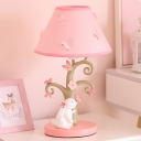 Pink Wide Flare Night Stand Light Kids 1 Bulb Fabric Table Lighting with Rabbit and Tree Base