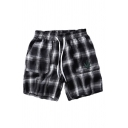 Mens Popular Shorts Plaid Leaf Printed Drawstring Waist over the Knee Length Regular Fitted Sweat Shorts with Pockets