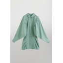 Simple Womens Green Solid Color Single Breasted Turn Down Collar Long Batwing Sleeve Short Shirt Dress
