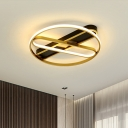 LED Bedroom Flush Mount Lighting Simplicity Gold Ceiling Flush with Ring Metal Shade, 16.5