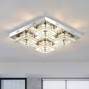 Square Flush Ceiling Light Modern Crystal Petals Chrome LED Semi Mount Lighting for Dining Room