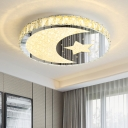 Simplicity Disc Flush Mount Lamp Crystal LED Bedroom Ceiling Light Fixture in Stainless-Steel with Moon and Star Pattern