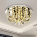 U-Shaped Ceiling Flush Mount Modernist Faceted Crystal Stainless-Steel LED Flushmount Light for Bedroom