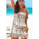 Novelty Womens Tie Dye Argyle Pattern Drawstring Pockets Sleeveless Strapless Straight Rompers