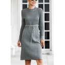 Novelty Ladies Plain Long Sleeve Crew Neck Drawstring Waist Knitted Midi A-line Sweater Dress in Gray