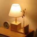 Conical Bedroom Night Lamp Fabric 1 Head Modernism Table Light with Cubic Base in Wood