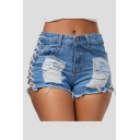 Womens Cool Sexy Night Club Hollow Lace-Up Side Frayed Hem Skinny Light Blue Denim Shorts