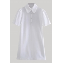 Novelty Womens Plain Button Front Peter Pan Collar Short Puff Sleeve Fitted Mini Polo Shirt Dress in White