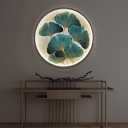 Ginkgo Leaf Fabric Wall Lighting Ideas Asian Style LED Yellow and Green/Green Circular Mural Light for Dining Room
