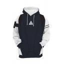 Mens Unique Hooded Sweatshirt Contrasted Cosplay 3D Triangle Pattern Zipper Fly Long Sleeve Slim Fit Hooded Sweatshirt