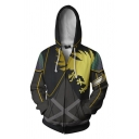 Novelty Mens Hooded Sweatshirt Eagle Irregular Striped Rhombus X-Cross Pattern 3D Cosplay Zipper Fly Long Sleeve Slim Fit Hooded Sweatshirt