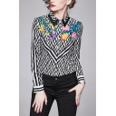 Fashion Womens Striped Floral Printed Button Up Turn-down Collar Full Sleeve Regular Fit Shirt