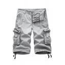 Simple Men's Solid Color Zip-fly Pockets Distressed Longline Regular Fit Denim Shorts