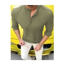 Mens New Trendy Basic Solid Color Long Sleeve Casual Loose Henley Shirt
