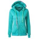 Fashion Big Pockets Colorful Drawstring Hooded Zipper Hoodie