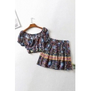 Ethnic Womens Ditsy Flower Printed Short Sleeve Off the Shoulder Tied Fit Crop Tee & Ruffled Mini Pleated A-line Skirt Set