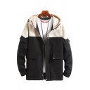 Mens Jacket Trendy Contrasted Bungee-Style Drawstring Flap Pockets Zipper Detail Regular Fit Long Sleeve Hooded Work Jacket