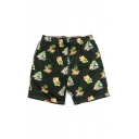 Holiday Mens All Over Flower Leaf Printed Drawstring Waist Straight Shorts