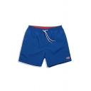 Trendy Boys Flag Patched Drawstring Waist Straight Shorts