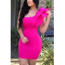 Womens Popular Solid Color Puff Single Sleeve One Shoulder Slim Fitted Mini Club Dress