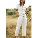 Classic Womens Jumpsuits Plain Front Button Detail Tie-Waist Short Sleeve V-Neck Regular Fitted Capri Jumpsuits