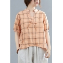Retro Ladies Plaid Printed Half Sleeve V-neck Bow Tied Relaxed Fit Linen and Cotton T Shirt