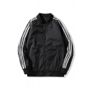 Mens Jacket Simple Striped Tape Decoration Zipper Detail Stand Collar Loose Fit Long Sleeve Varsity Jacket