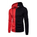 Basic Mens Hoodie Contrasted Drawstring Cuffed Zipper up Slim Fitted Long Sleeve Hoodie with Pockets