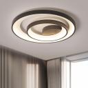 Black Rings Flush Ceiling Light Modern 16.5
