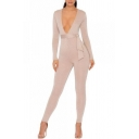 V Neck Long Sleeve Plain Tie Waist Skinny Jumpsuit