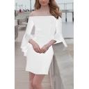 New Style Plain Print Ruffle Detail Off The Shoulder Short Sleeve Mini Bandeau White Dress