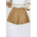 Vintage Womens Shorts Solid Color Chiffon High Rise Partially Elastic Waist Belted Pleated Loose Fitted A-Line Relaxed Shorts