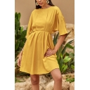 Trendy Womens Solid Color Batwing Sleeve Crew Neck Short Pleated A-line Dress in Yellow