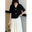Fancy Girls Short Sleeve Notched Collar Button Up Loose Fit Shirt Top in Black