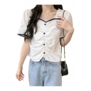 Pretty Ladies Contrasted Pipe Puff Sleeve Sweetheart Neck Button Up Ruched Regular Fit Shirt Top in White