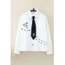 Womens Leisure Cat Paw Embroidered Long Sleeve Point Collar Button Up Chest Pocket Relaxed White Shirt with Tie