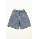 Womens Shorts Creative Snoopy Patch Partially Elastic Waist A-Line Regular Fitted Blue Denim Shorts