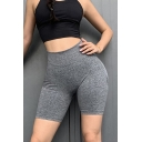 Women's Trendy Shorts Color block Seamless High-rise Knit Short Skinny Sporty Shorts