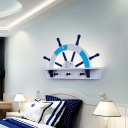 Half Rudder Surface Wall Sconce Nordic Metallic LED Blue Wall Mounted Lighting in Warm/White Light