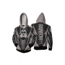 3D Skull Striped Graphic Long Sleeve Drawstring Zipper Front Loose Fit Cool Hoodie in Gray