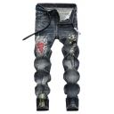 Popular Men's Pleated Applique Patched Regular Fit Ripped Jeans Biker Jeans