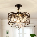Faceted Crystal Balls Rust Semi Flush Drum 3-Head Countryside Close to Ceiling Light